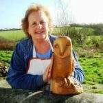 woodcarving course students barn owl carved in yew wood