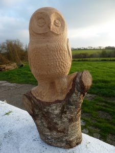 Carved Owl in alder wood
