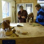 Zoe Gertner teacher of woodcarving in Devon teaching lady