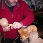 woodcarving course student carving a project from Zoe Gertner's book