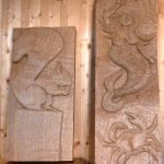 Large garden woodcarvings made in oak by woodcarving students