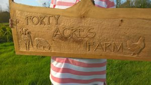 Commissioned woodcarving by Zoe Gertner a signboard in oak for smallholding