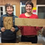 mother and daughter with their first carvings