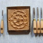 Tudor rose carved using 7 Zoe Gertner woodcarving tools