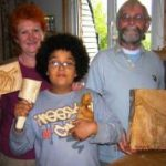 family group of woodcarvers
